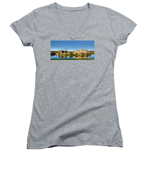 Leeds Castle And Moat Reflections Women's V-Neck T-Shirt
