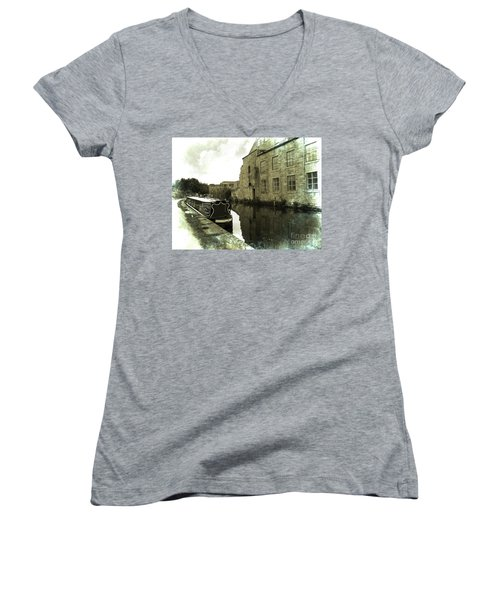 Leeds Liverpool Canal Unchanged For 200 Years Women's V-Neck (Athletic Fit)
