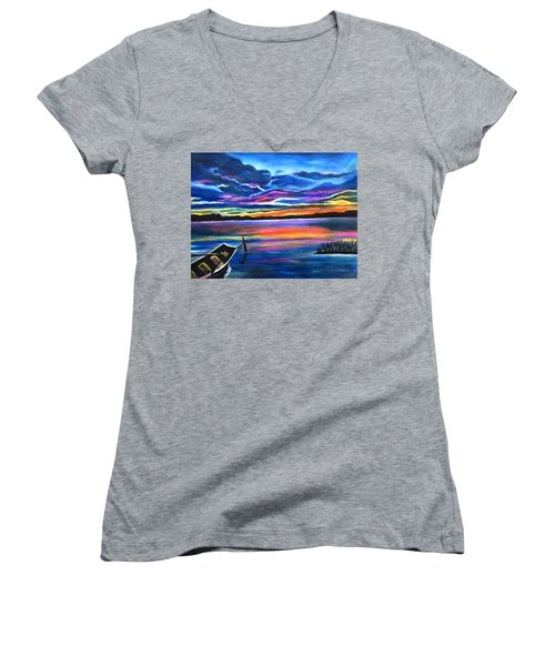 Left Alone A Seascape Boat Painting At Sunset  Women's V-Neck T-Shirt (Junior Cut)