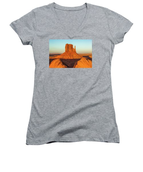 Left Mitten Sunset - Monument Valley Women's V-Neck (Athletic Fit)