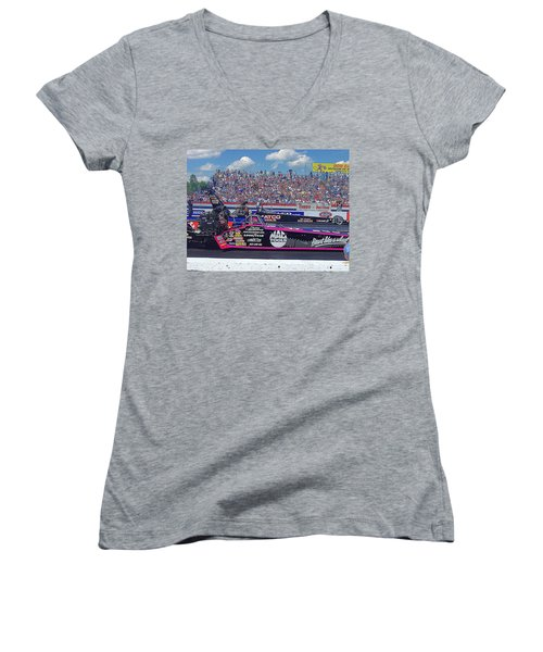 Legends At The Line Women's V-Neck T-Shirt (Junior Cut) by Jerry Battle