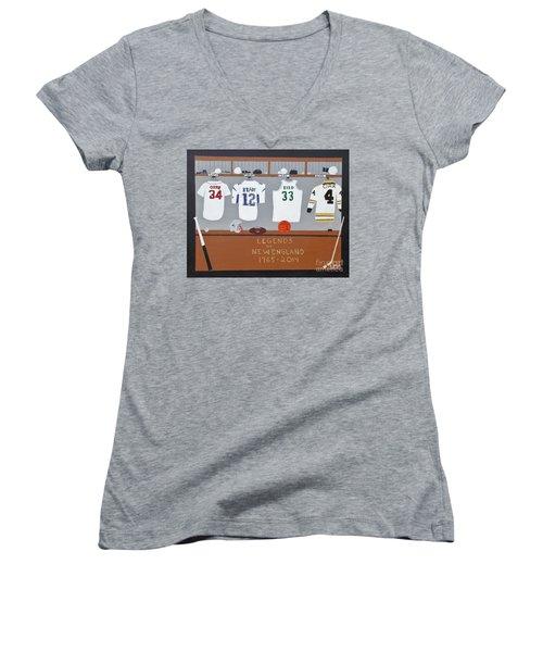 Legends Of New England Women's V-Neck T-Shirt (Junior Cut) by Dennis ONeil