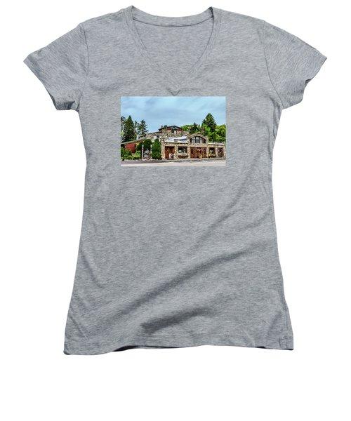 Women's V-Neck T-Shirt (Junior Cut) featuring the photograph Legs Inn Of Cross Village by Bill Gallagher