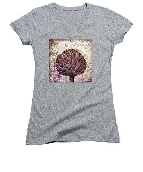Legumes Francais Artichoke Women's V-Neck T-Shirt (Junior Cut) by Mindy Sommers
