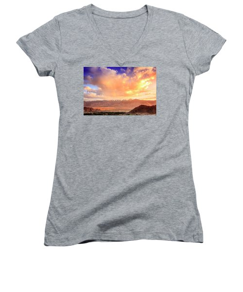 Women's V-Neck T-Shirt (Junior Cut) featuring the photograph Leh, Ladakh by Alexey Stiop