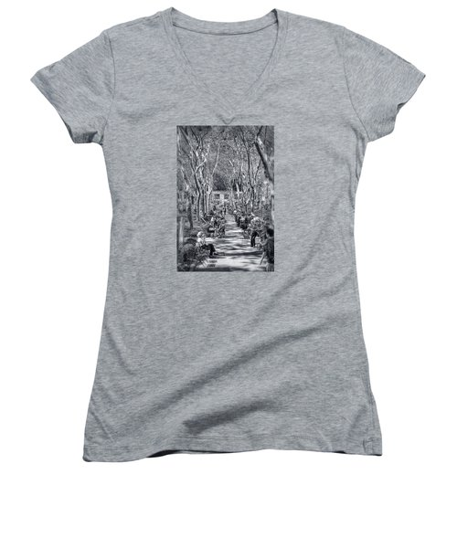 Women's V-Neck T-Shirt (Junior Cut) featuring the photograph Leisure Time by Sabine Edrissi