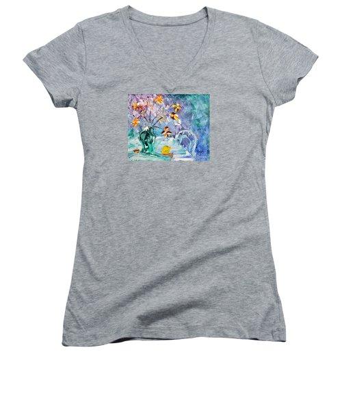 Lemon For Tea Women's V-Neck T-Shirt (Junior Cut) by Lynda Cookson