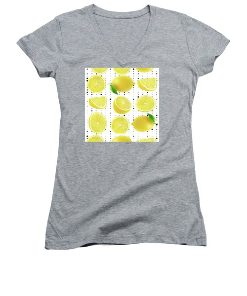 Lemon  Women's V-Neck T-Shirt (Junior Cut) by Mark Ashkenazi