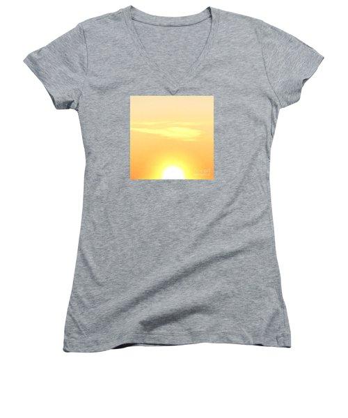 Lemon Meringue Sky Women's V-Neck T-Shirt (Junior Cut)