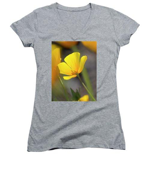 Lemon Yellow Women's V-Neck T-Shirt (Junior Cut) by Sue Cullumber