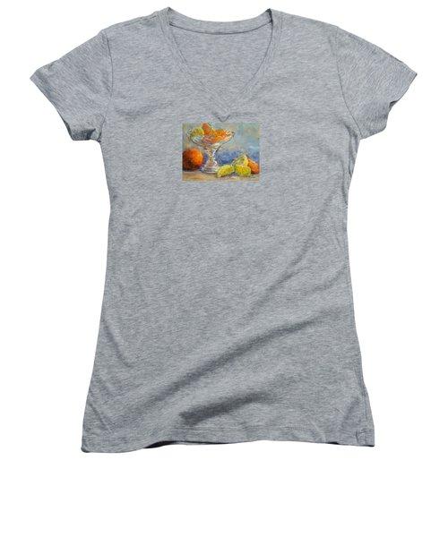 Lemons And Oranges Women's V-Neck T-Shirt (Junior Cut)