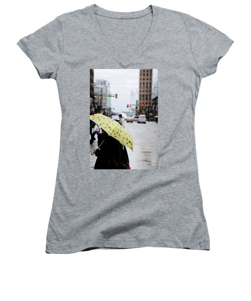 Women's V-Neck T-Shirt (Junior Cut) featuring the photograph Lemons And Rubber Boots  by Empty Wall
