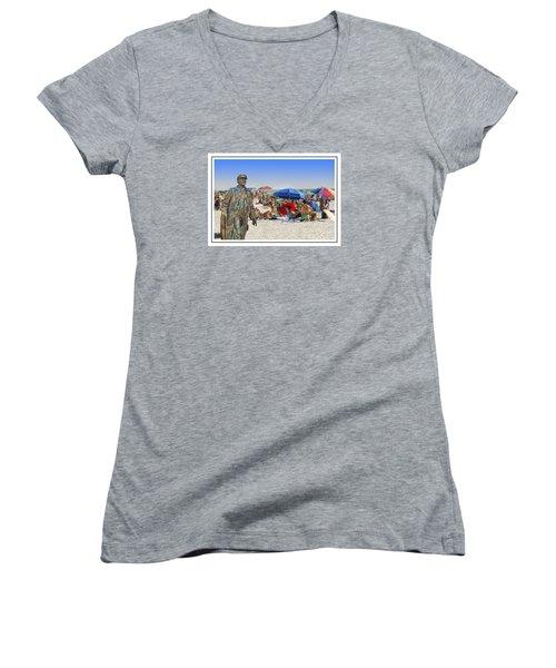 Lenin Goes To The Beach White Border Women's V-Neck (Athletic Fit)