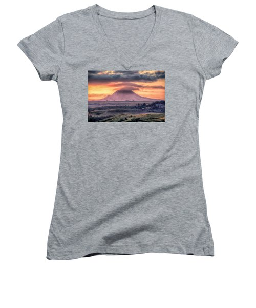 Women's V-Neck featuring the photograph Lenticular by Fiskr Larsen