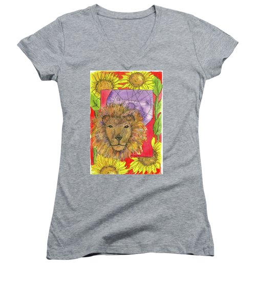 Women's V-Neck T-Shirt (Junior Cut) featuring the painting Leo by Cathie Richardson