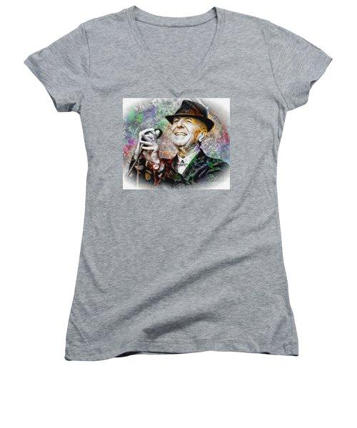 Leonard Cohen - Tribute Painting Women's V-Neck T-Shirt