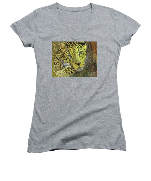 Leopard Gaze Women's V-Neck T-Shirt (Junior Cut) by David Joyner