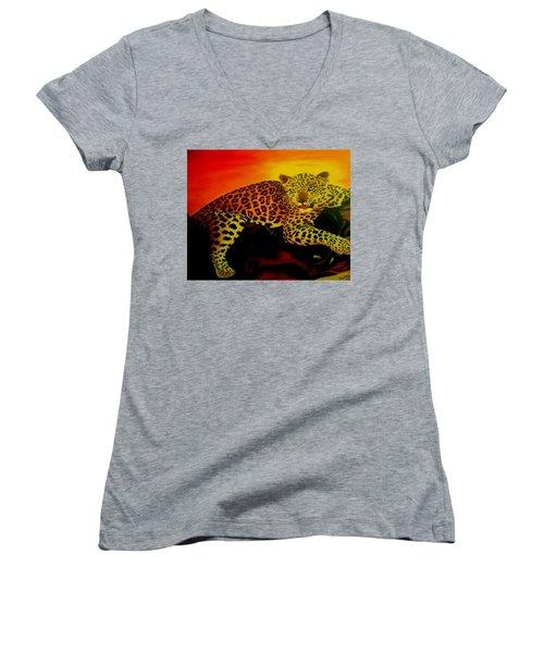 Leopard On A Tree Women's V-Neck T-Shirt (Junior Cut) by Manuel Sanchez