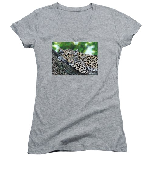 Leopard On Branch Women's V-Neck (Athletic Fit)