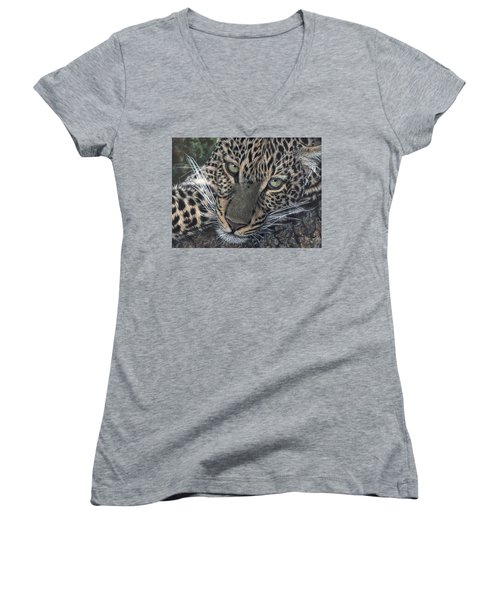 Leopard Portrait Women's V-Neck (Athletic Fit)
