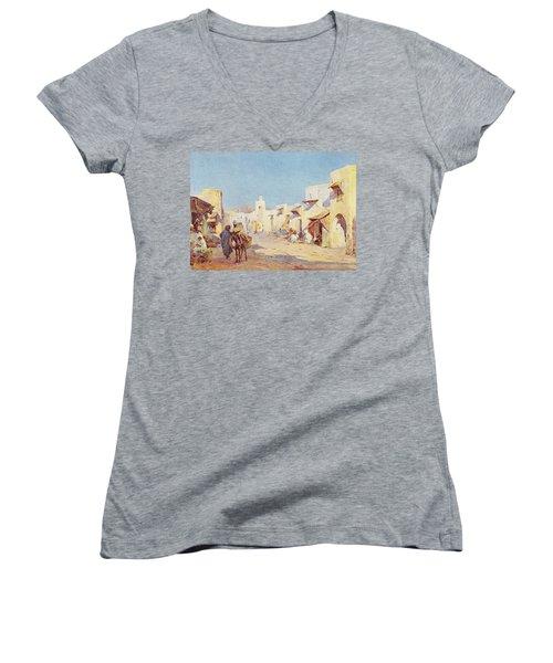 Women's V-Neck T-Shirt (Junior Cut) featuring the photograph Leopold Carl Muller 1887 by Munir Alawi