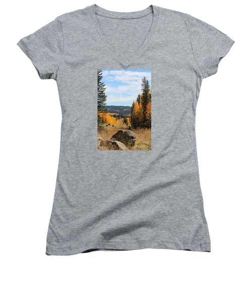 Leroux Creek Autumn In Colorado Women's V-Neck (Athletic Fit)
