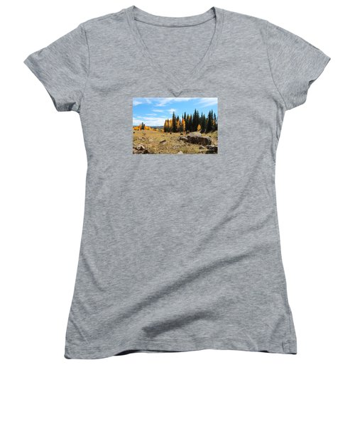 Leroux Creek Fall In Colorado Women's V-Neck (Athletic Fit)