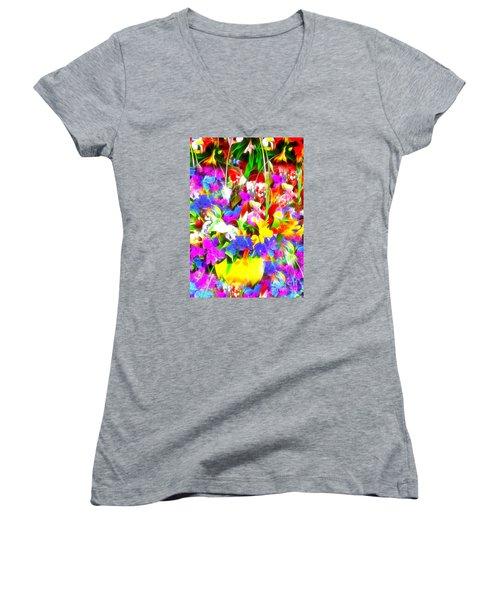 Les Jolies Fleurs Women's V-Neck T-Shirt (Junior Cut) by Jack Torcello