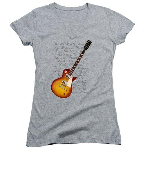 Les Paul Songs T-shirt Women's V-Neck (Athletic Fit)