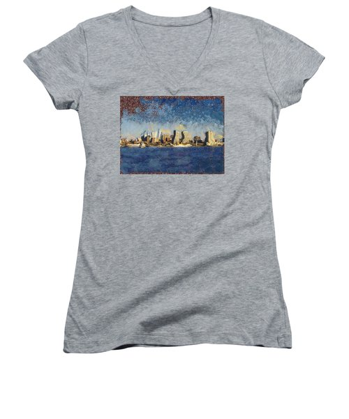 Women's V-Neck T-Shirt (Junior Cut) featuring the mixed media Less Wacky Philly Skyline by Trish Tritz