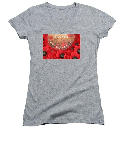 Lest We Forget - 1914-1918 Women's V-Neck