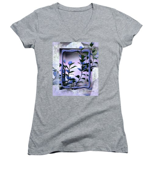 Women's V-Neck T-Shirt (Junior Cut) featuring the digital art Let Free The Pain by Vicki Ferrari