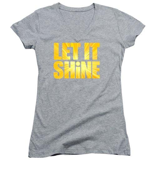 Let It Shine Sun Women's V-Neck (Athletic Fit)