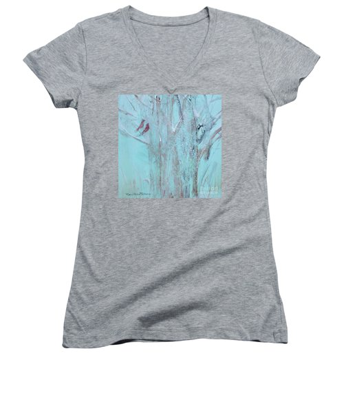 Women's V-Neck T-Shirt featuring the painting Let It Snow by Robin Maria Pedrero