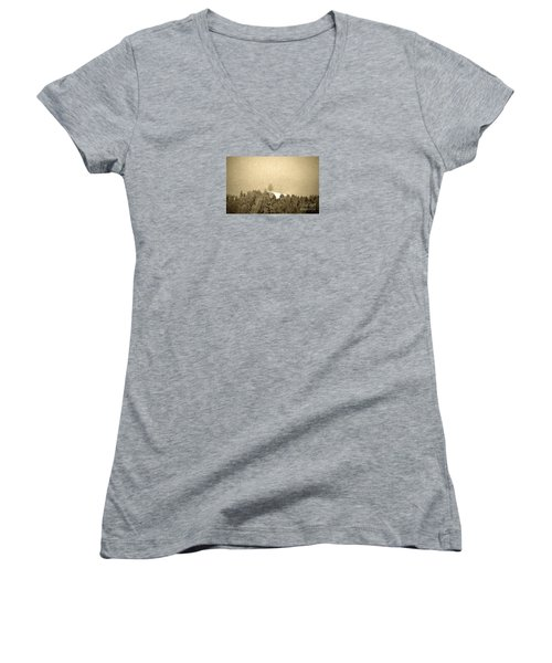 Women's V-Neck T-Shirt (Junior Cut) featuring the photograph Let It Snow - Winter In Switzerland by Susanne Van Hulst