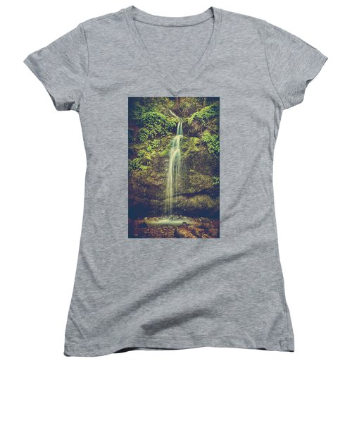 Women's V-Neck T-Shirt (Junior Cut) featuring the photograph Let Me Live Again by Laurie Search