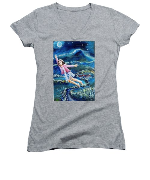 Let Me Play Among The Stars  Women's V-Neck (Athletic Fit)