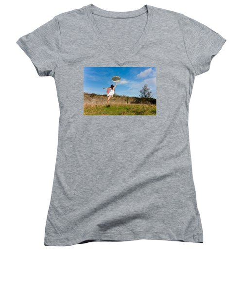 Let The Breeze Guide You Women's V-Neck T-Shirt (Junior Cut) by Semmick Photo