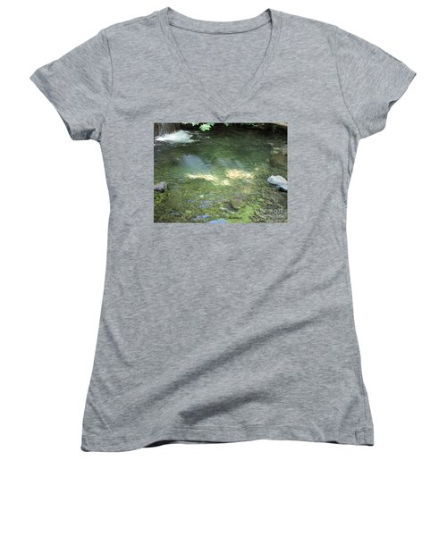 Women's V-Neck T-Shirt featuring the photograph Let The Sunshine by Marie Neder