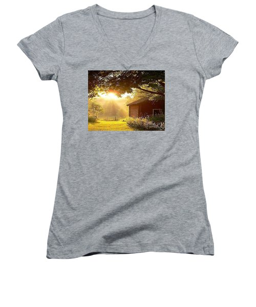Let There Be Light Women's V-Neck T-Shirt (Junior Cut) by Rod Jellison