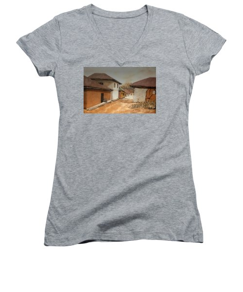 Let There Be Peace In Our Land Women's V-Neck T-Shirt (Junior Cut) by Bankole Abe