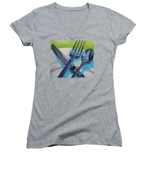 Let's Eat Women's V-Neck (Athletic Fit)