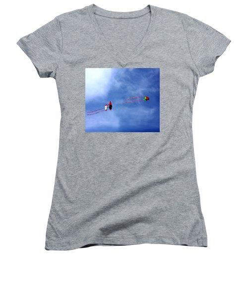 Let's Go Fly 2 Kites Women's V-Neck T-Shirt