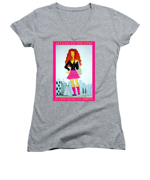 Women's V-Neck T-Shirt (Junior Cut) featuring the painting Let's Go To The Gym by Don Pedro De Gracia