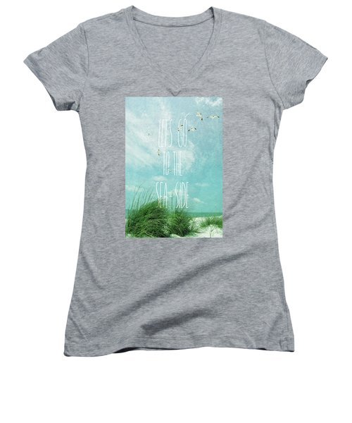 Women's V-Neck T-Shirt (Junior Cut) featuring the photograph Let's Go To The Sea-side by Jan Amiss Photography