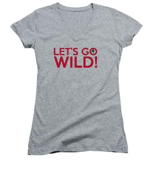 Let's Go Wild Women's V-Neck T-Shirt (Junior Cut) by Florian Rodarte