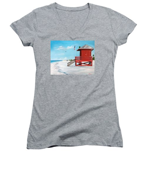 Let's Meet At The Red Lifeguard Shack Women's V-Neck (Athletic Fit)