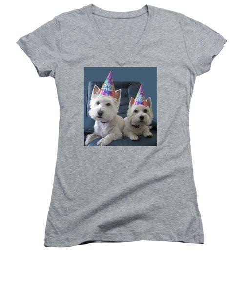 Let's Party Women's V-Neck T-Shirt (Junior Cut) by Geraldine Alexander