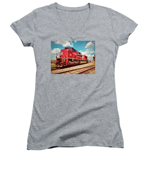 Let's Ride The Katy Women's V-Neck T-Shirt (Junior Cut) by Linda Unger