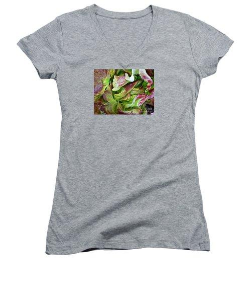 Lettuce Heart Women's V-Neck T-Shirt (Junior Cut) by Dee Flouton